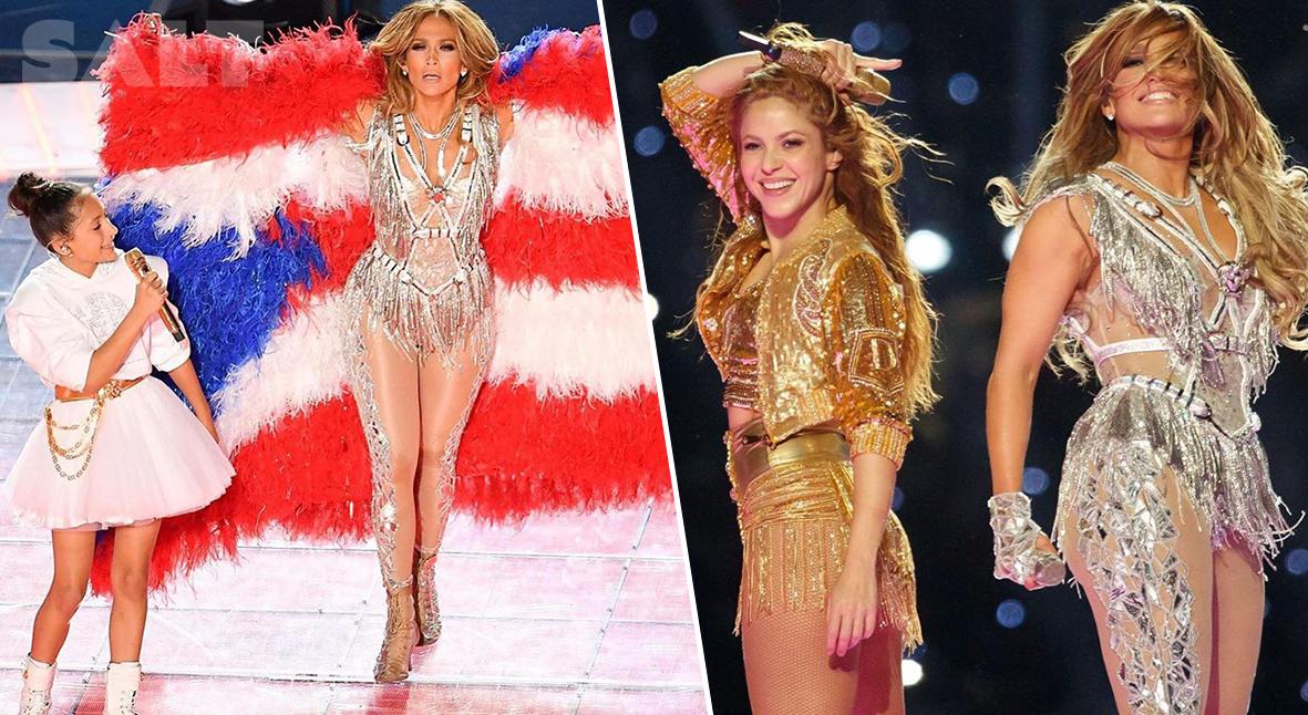 Salt: главное здесь, остальное по вкусу - Дженнифер Лопес выступила на «Суперкубке» вместе с Шакирой и дочерью Эммой